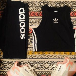 Adidas outfit- includes shoes, crop tank, leggings